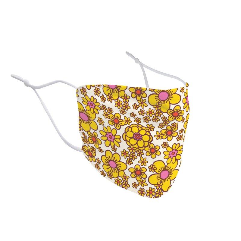 Yellow Retro Daisy Print Accessories Face Mask by 5 Eye Studio