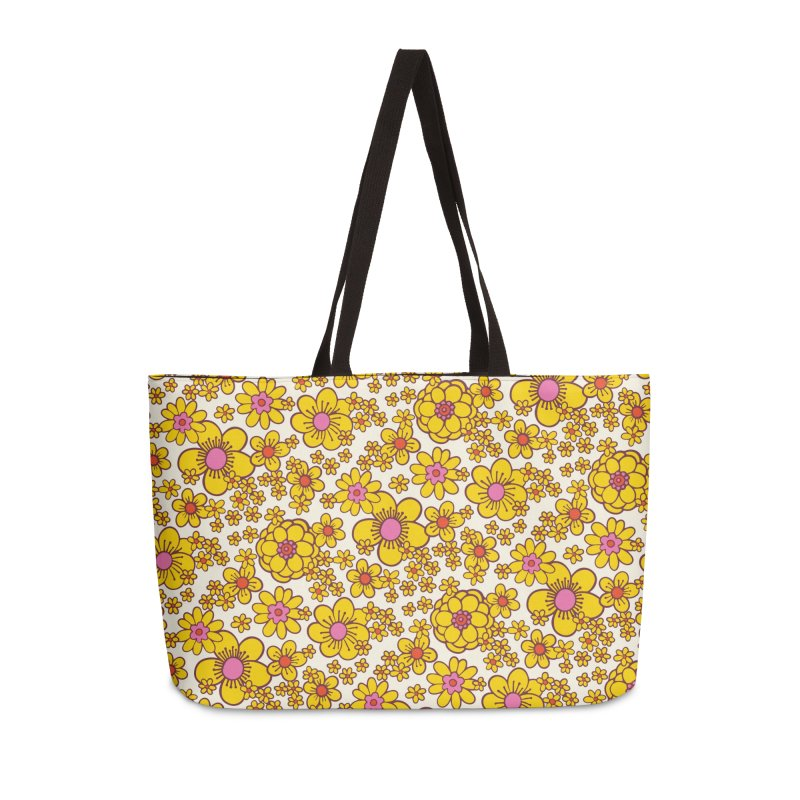 Yellow Retro Daisy Print Accessories Bag by 5 Eye Studio