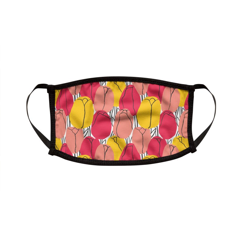 Graphic Tulips Print Accessories Face Mask by 5 Eye Studio