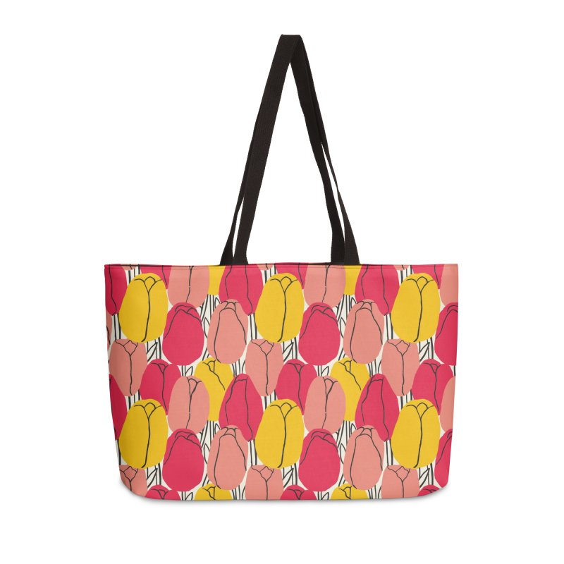 Graphic Tulips Print Accessories Bag by 5 Eye Studio