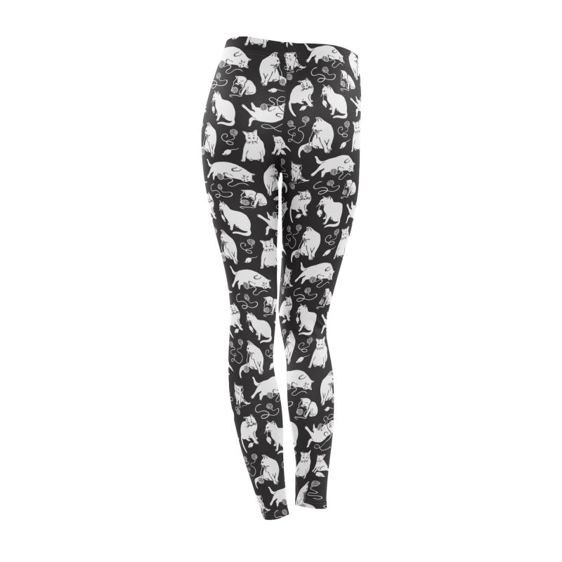 I'm Here for the Cats Print - Black & White Women's Bottoms by 5 Eye Studio