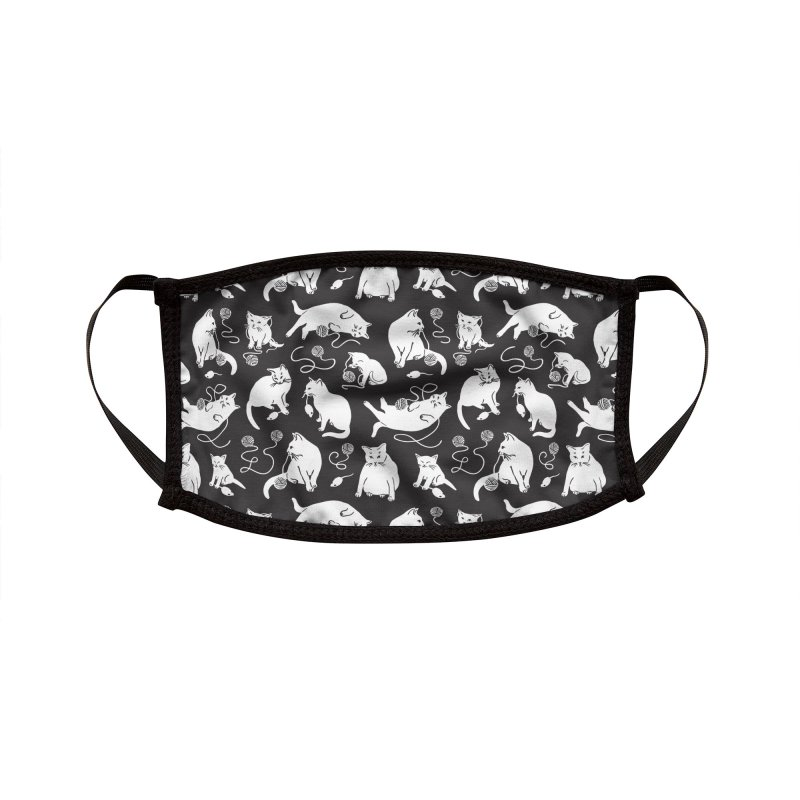I'm Here for the Cats Print - Black & White Accessories Face Mask by 5 Eye Studio