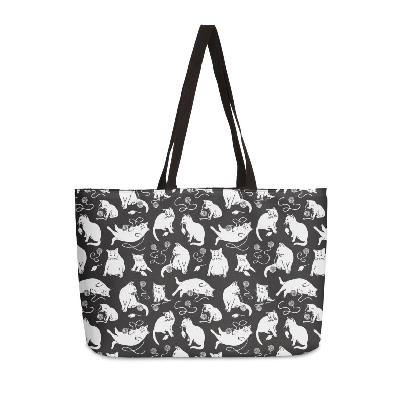 I'm Here for the Cats Print - Black & White Accessories Bag by 5 Eye Studio