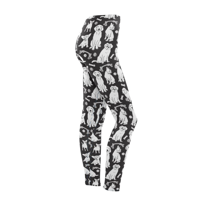 I'm Here for the Dogs Print - Black & White Women's Bottoms by 5 Eye Studio