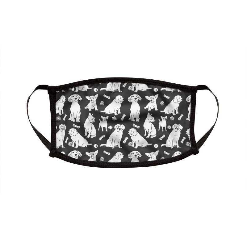 I'm Here for the Dogs Print - Black & White Accessories Face Mask by 5 Eye Studio