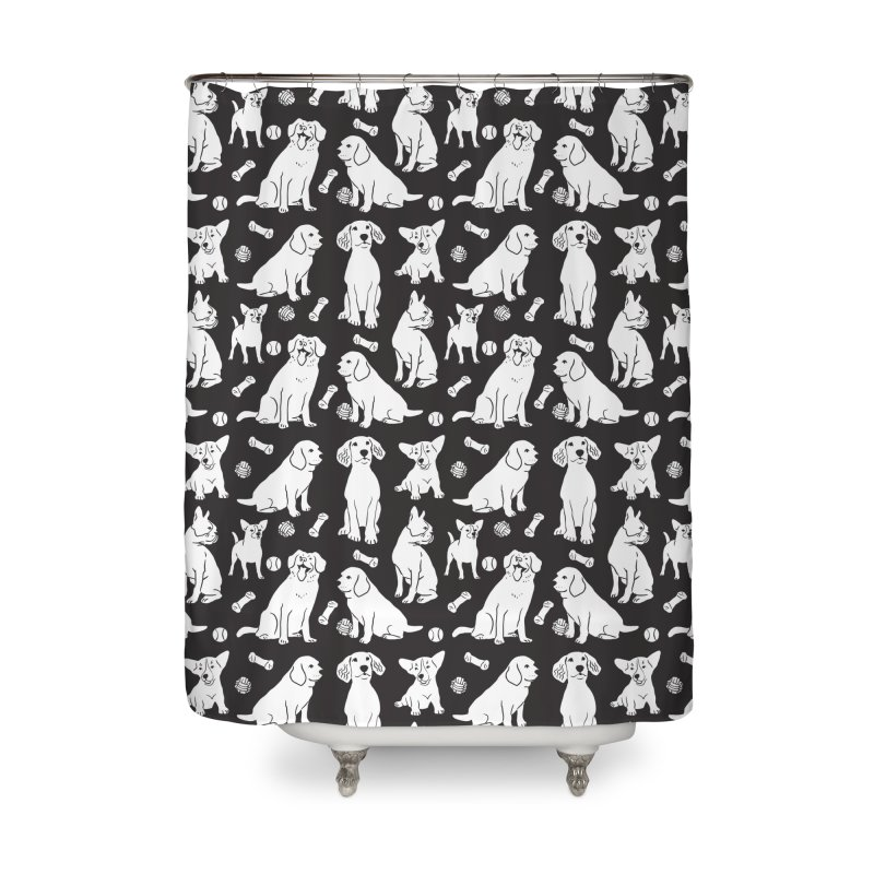 I'm Here for the Dogs Print - Black & White Home Shower Curtain by 5 Eye Studio