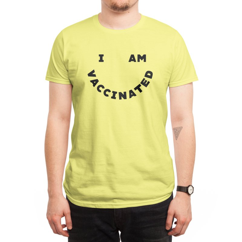 Vaccinated Typography Smiley Men's T-Shirt by 5 Eye Studio