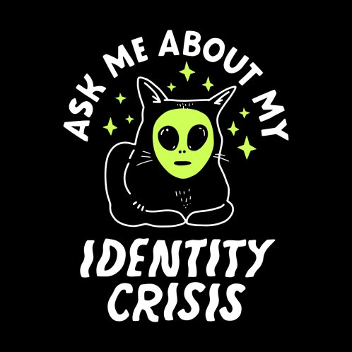 Design for Ask Me About my Identity Crisis - Dark Background