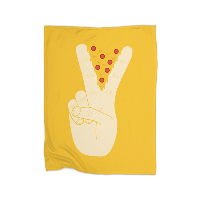 Peace-Za Home Fleece Blanket by 5eth's Artist Shop