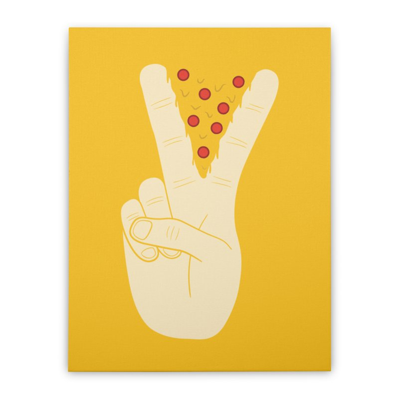 Peace-Za Home Stretched Canvas by 5eth's Artist Shop