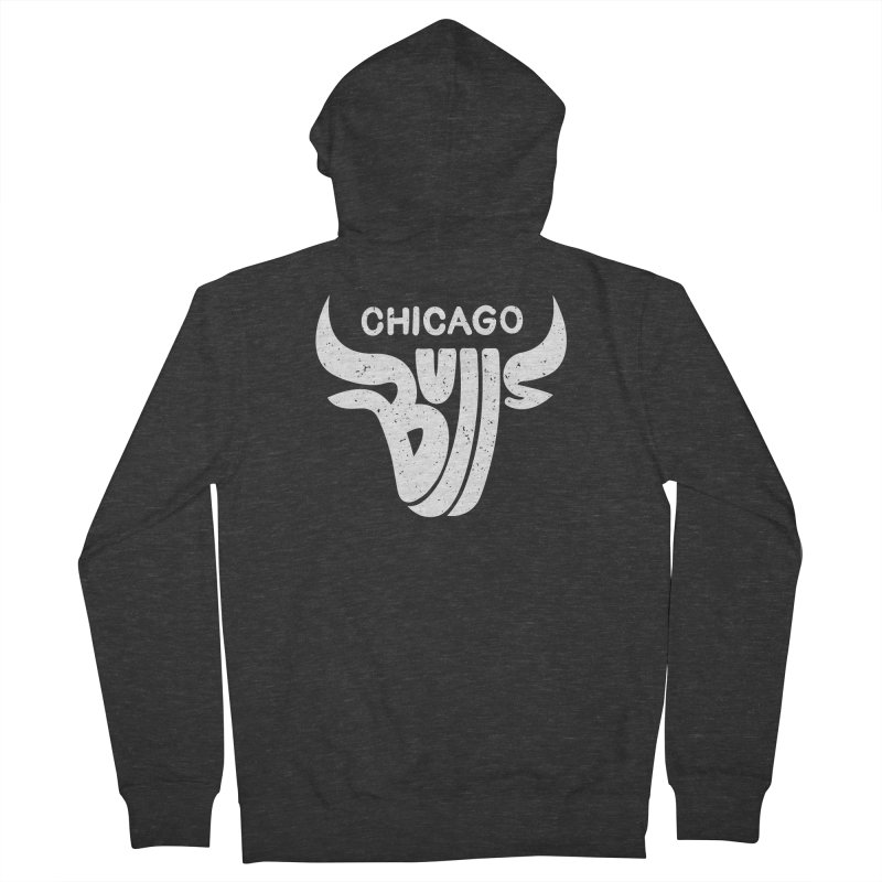 Bulls (White) Women's French Terry Zip-Up Hoody by 5eth's Artist Shop
