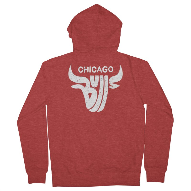 Bulls (White) Men's French Terry Zip-Up Hoody by 5eth's Artist Shop