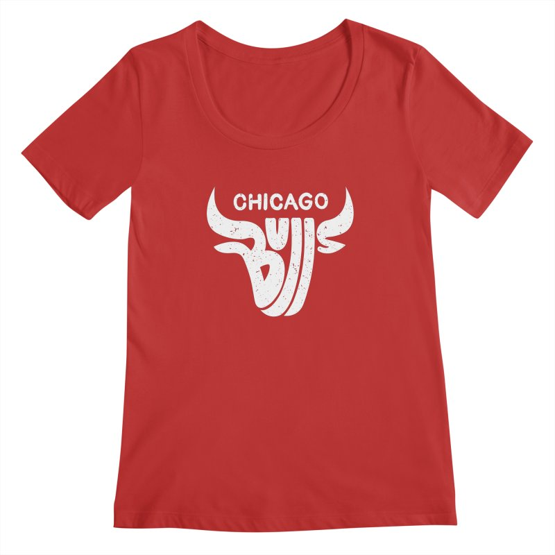 Bulls (White) Women's Regular Scoop Neck by 5eth's Artist Shop