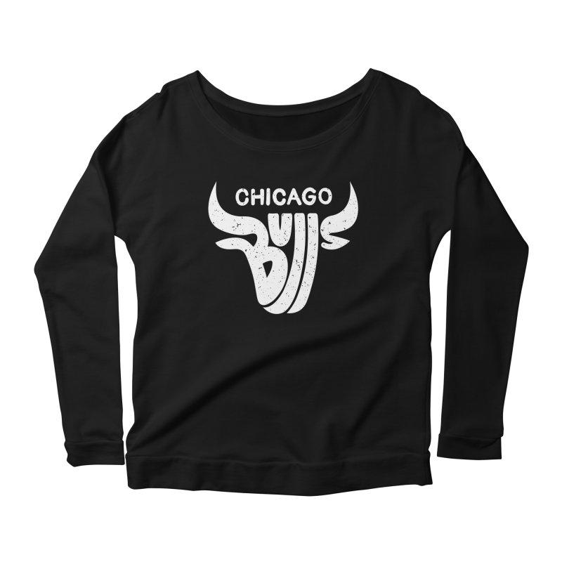 Bulls (White) Women's Scoop Neck Longsleeve T-Shirt by 5eth's Artist Shop