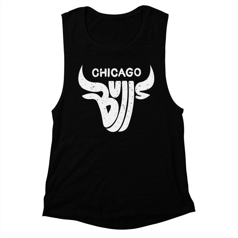 Bulls (White) Women's Muscle Tank by 5eth's Artist Shop