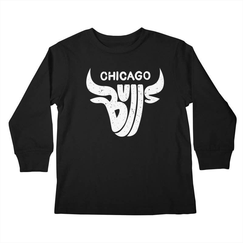 Bulls (White) Kids Longsleeve T-Shirt by 5eth's Artist Shop