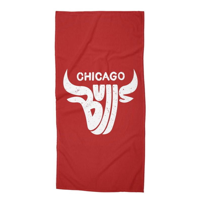 Bulls (White) Accessories Beach Towel by 5eth's Artist Shop