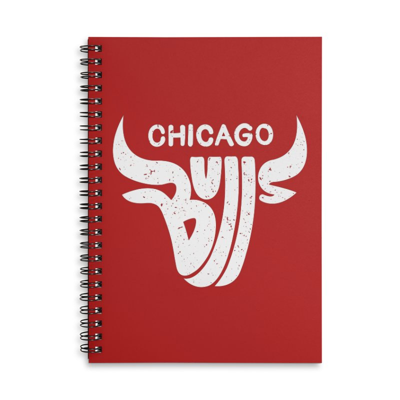 Bulls (White) Accessories Lined Spiral Notebook by 5eth's Artist Shop