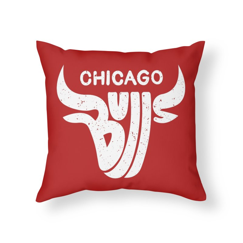 Bulls (White) Home Throw Pillow by 5eth's Artist Shop