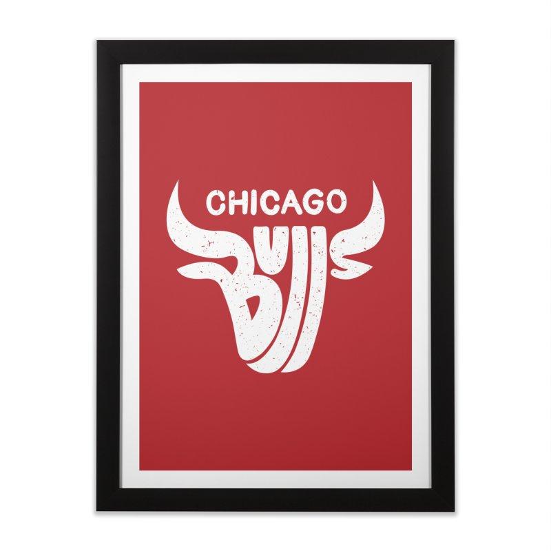 Bulls (White) Home Framed Fine Art Print by 5eth's Artist Shop