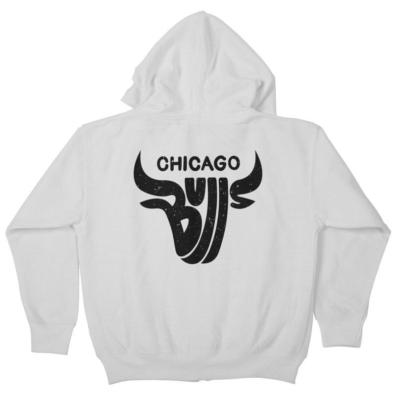 Bulls (Black) Kids Zip-Up Hoody by 5eth's Artist Shop