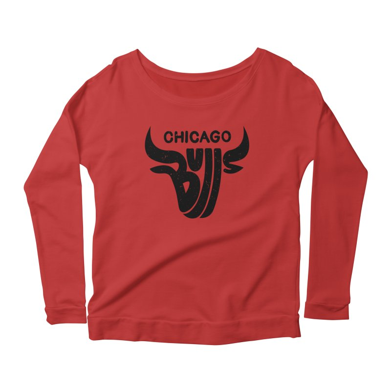 Bulls (Black) Women's Longsleeve Scoopneck  by 5eth's Artist Shop