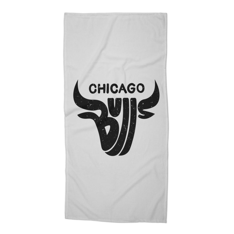 Bulls (Black) Accessories Beach Towel by 5eth's Artist Shop