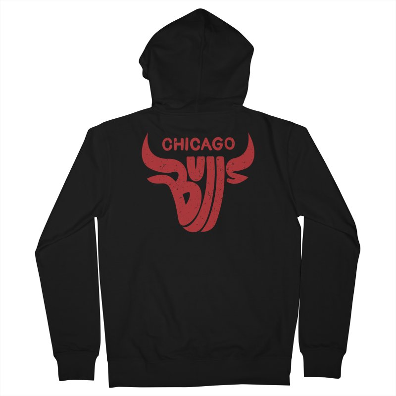 Bulls (Red) Men's French Terry Zip-Up Hoody by 5eth's Artist Shop