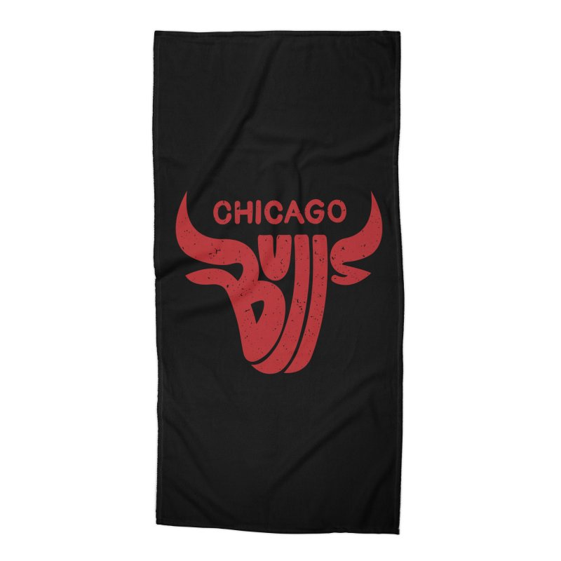 Bulls (Red) Accessories Beach Towel by 5eth's Artist Shop