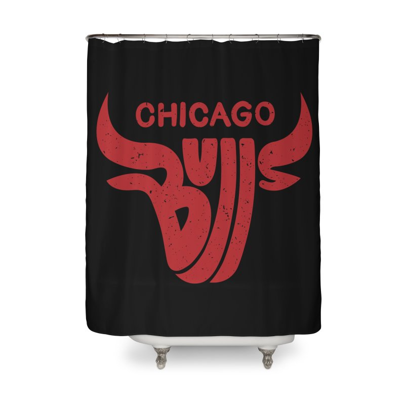 Bulls (Red) Home Shower Curtain by 5eth's Artist Shop