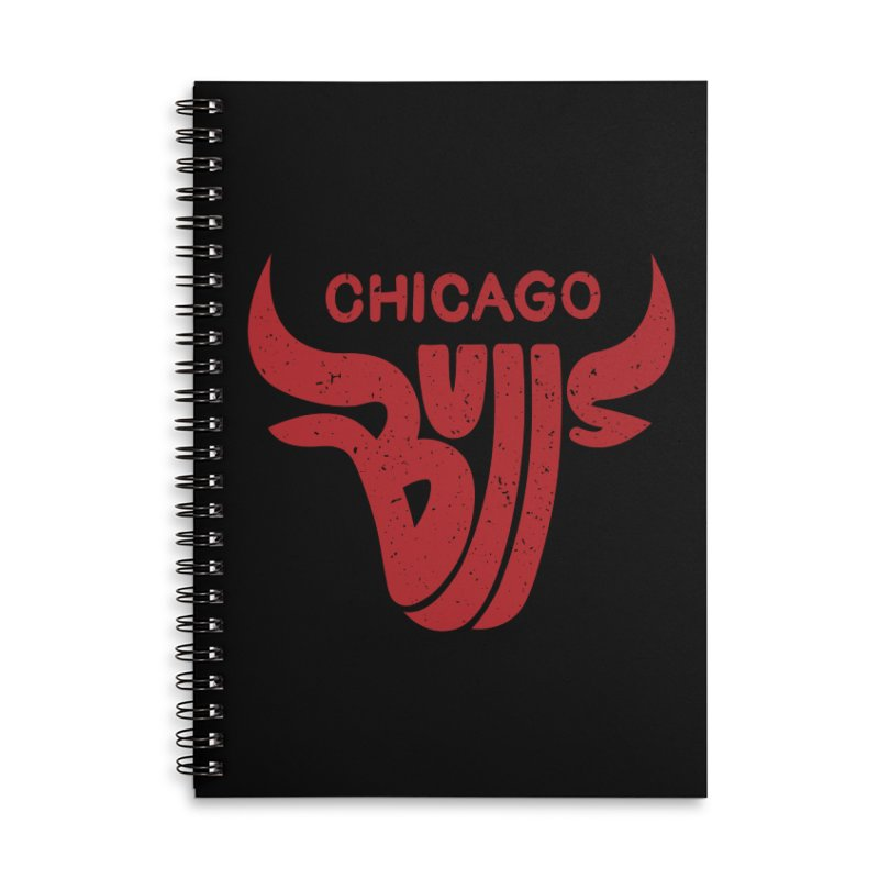 Bulls (Red) Accessories Lined Spiral Notebook by 5eth's Artist Shop