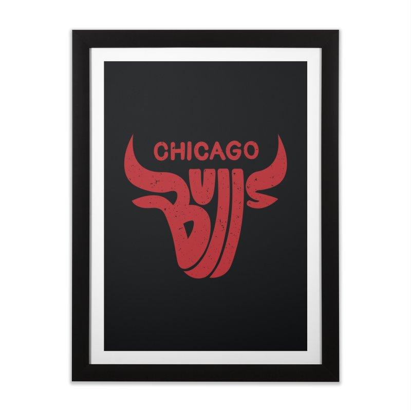 Bulls (Red) Home Framed Fine Art Print by 5eth's Artist Shop