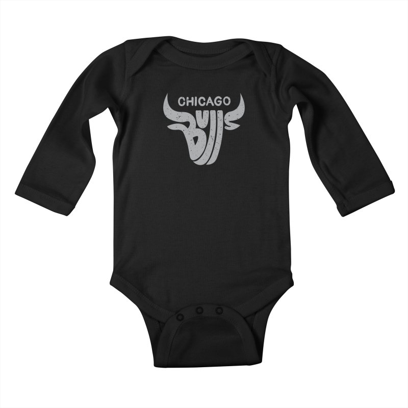 Bulls (Grey) Kids Baby Longsleeve Bodysuit by 5eth's Artist Shop
