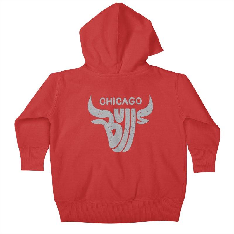 Bulls (Grey) Kids Baby Zip-Up Hoody by 5eth's Artist Shop