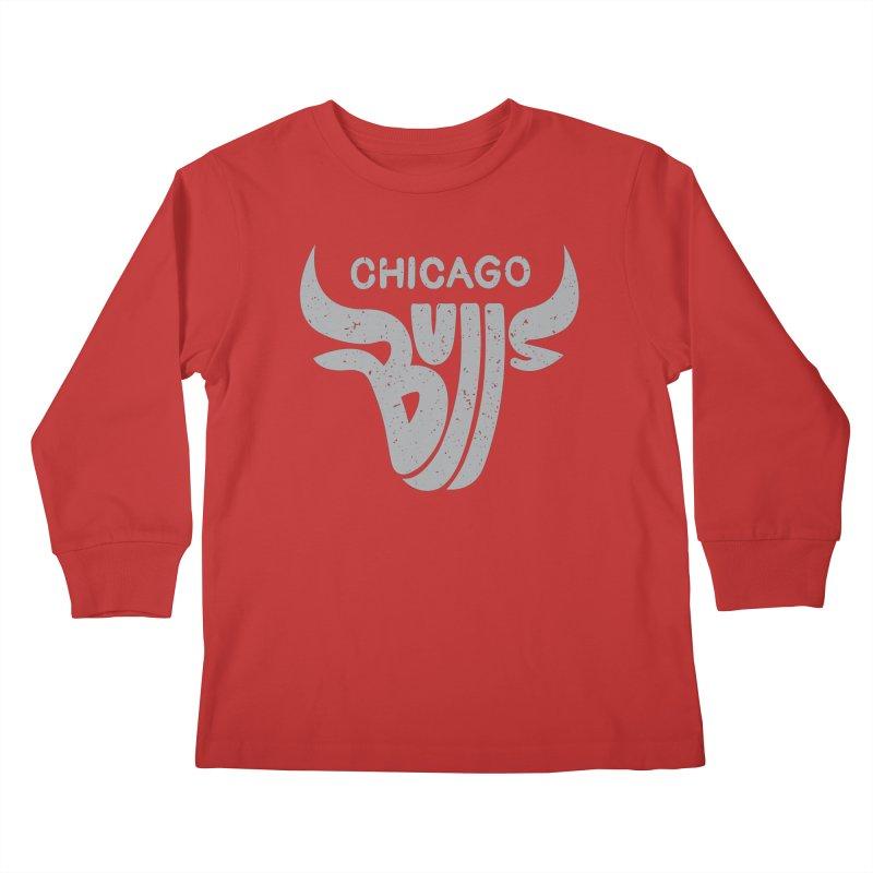 Bulls (Grey) Kids Longsleeve T-Shirt by 5eth's Artist Shop