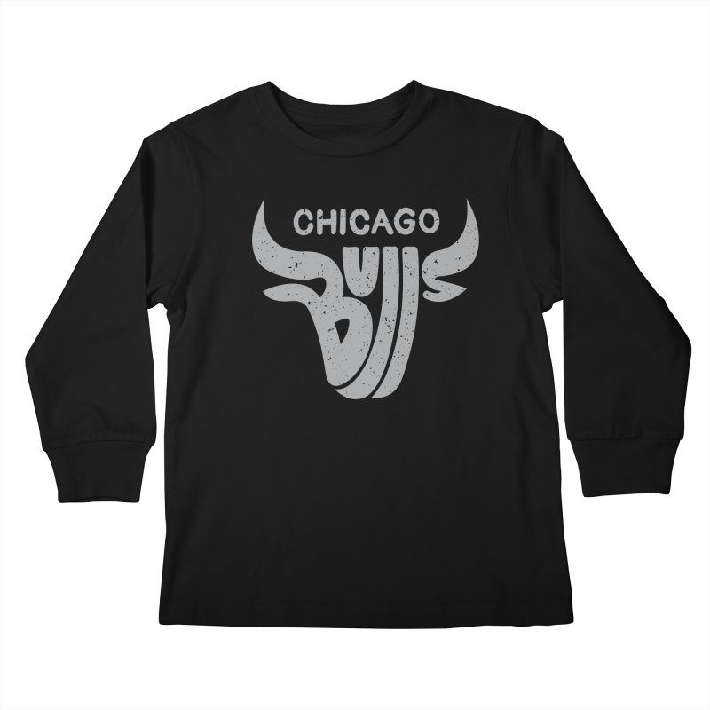 Bulls (Grey) Kids Longsleeve T-Shirt by 5eth's Artist Shop