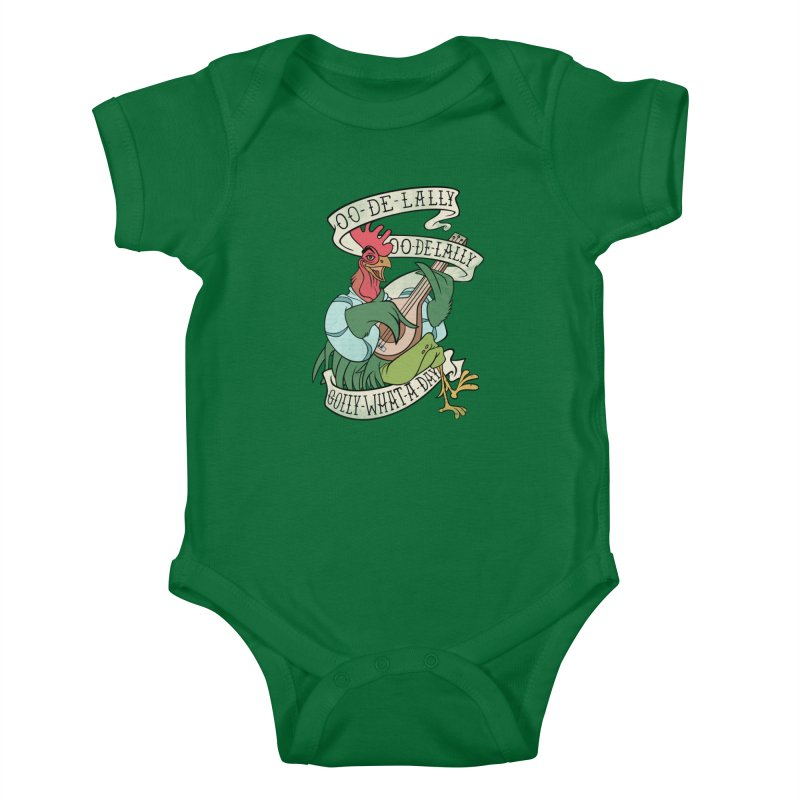 Distressed Robin Hood Alan-A-Dale Rooster Bard - Oo de lally Golly What A Day Kids Baby Bodysuit by 5sizes2small Studio