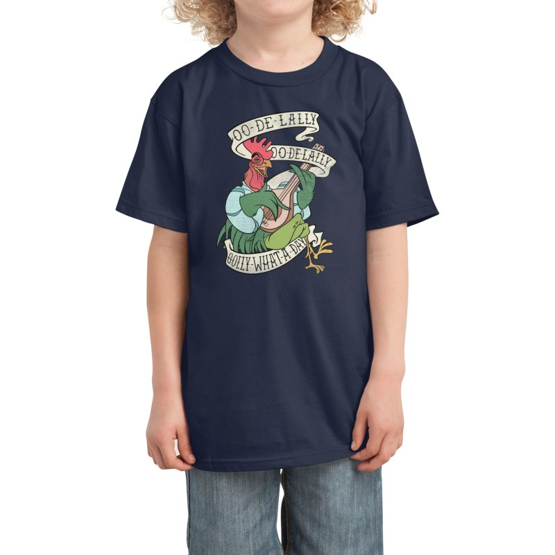 Distressed Robin Hood Alan-A-Dale Rooster Bard - Oo de lally Golly What A Day Kids T-Shirt by 5sizes2small Studio