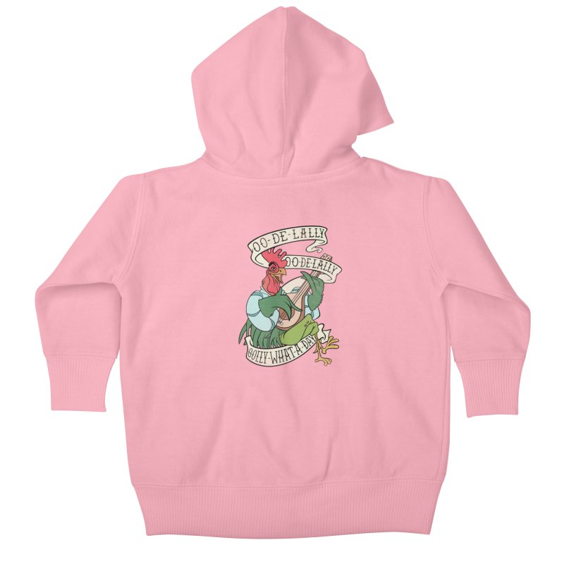 Distressed Robin Hood Alan-A-Dale Rooster Bard - Oo de lally Golly What A Day Kids Baby Zip-Up Hoody by 5sizes2small Studio