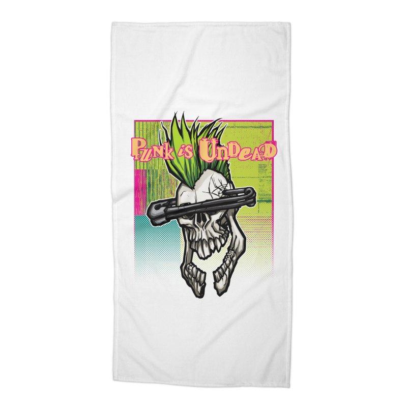 Punk is Undead Accessories Beach Towel by 600poundgorilla's Artist Shop
