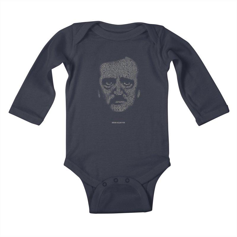 Edgar Allan Poe - A Portrait of Madness Kids Baby Longsleeve Bodysuit by 6amcrisis's Artist Shop