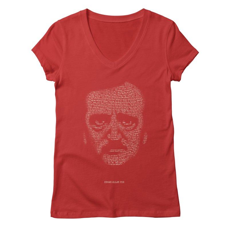 Edgar Allan Poe - A Portrait of Madness Women's V-Neck by 6amcrisis's Artist Shop