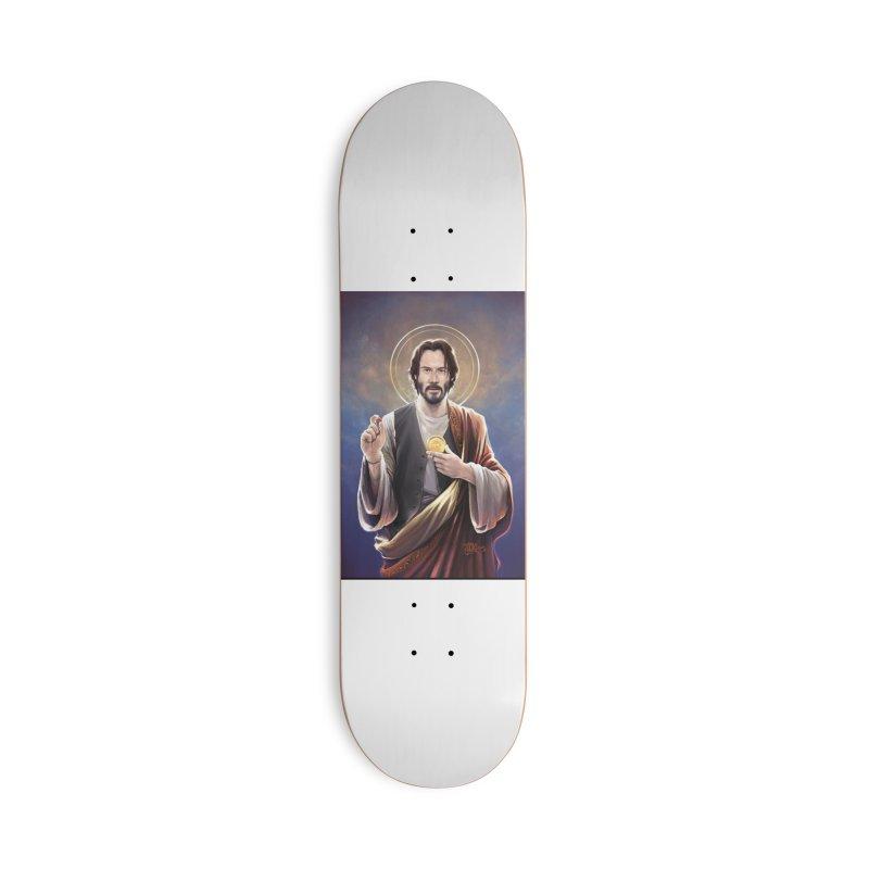Keanu Reeves - Saint Keanu of Reeves Accessories Deck Only Skateboard by 6amcrisis's Artist Shop