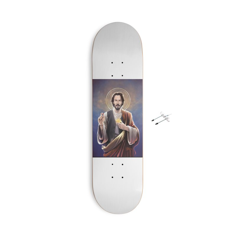 Keanu Reeves - Saint Keanu of Reeves Accessories With Hanging Hardware Skateboard by 6amcrisis's Artist Shop