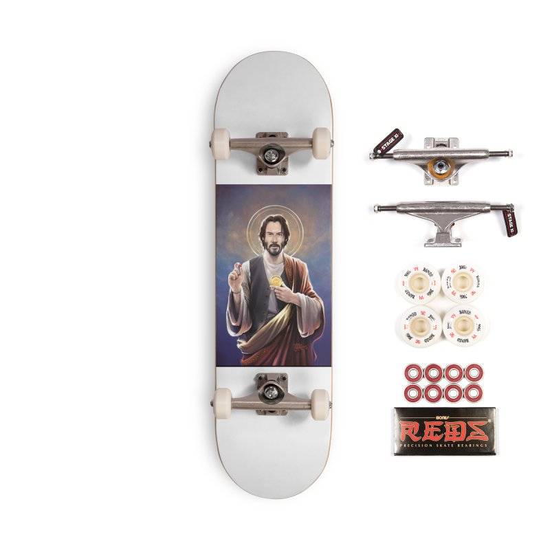 Keanu Reeves - Saint Keanu of Reeves Accessories Complete - Pro Skateboard by 6amcrisis's Artist Shop