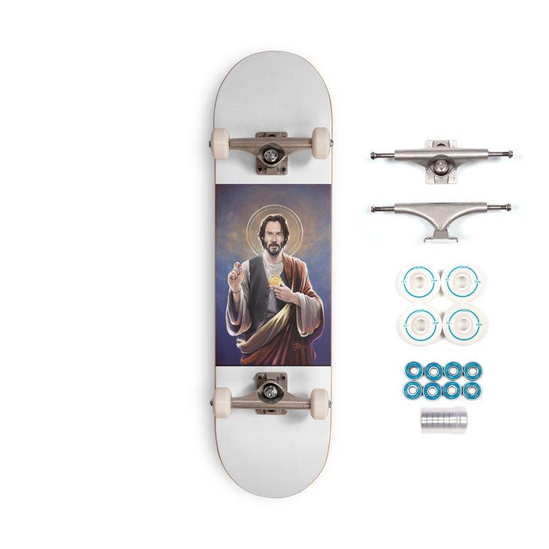 Keanu Reeves - Saint Keanu of Reeves Accessories Complete - Basic Skateboard by 6amcrisis's Artist Shop