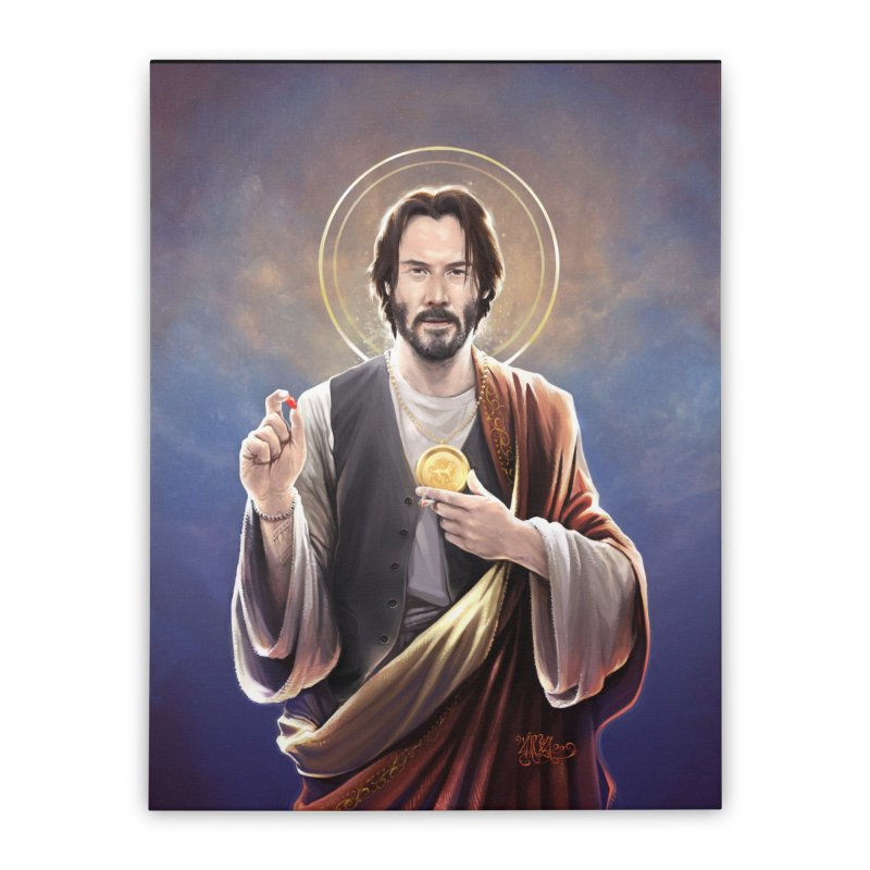Keanu Reeves - Saint Keanu of Reeves Home Stretched Canvas by 6amcrisis's Artist Shop