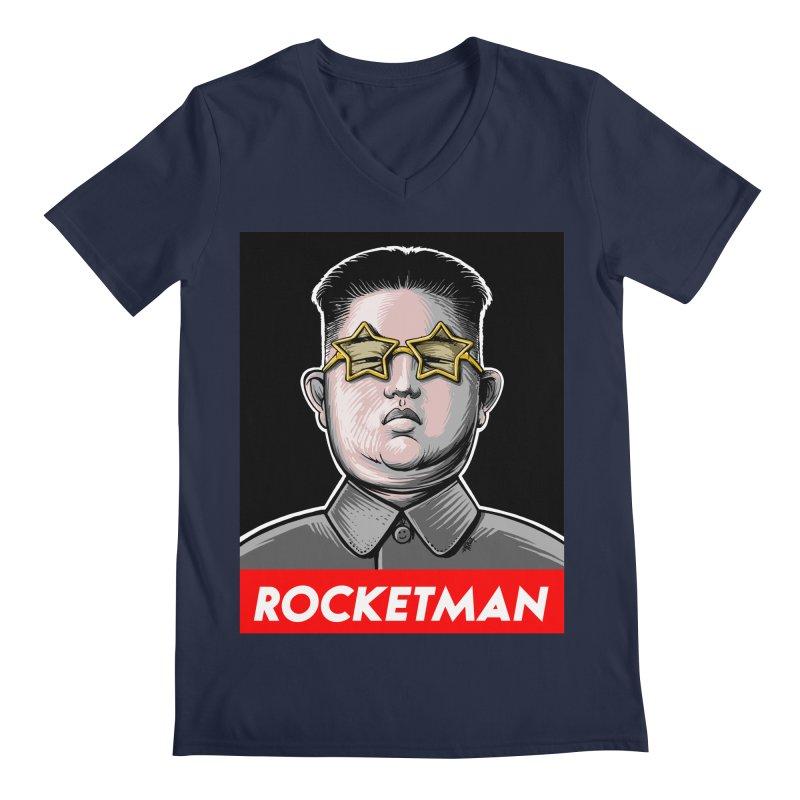 Rocket Man Kim Jong Un Men's Regular V-Neck by 6amcrisis's Artist Shop