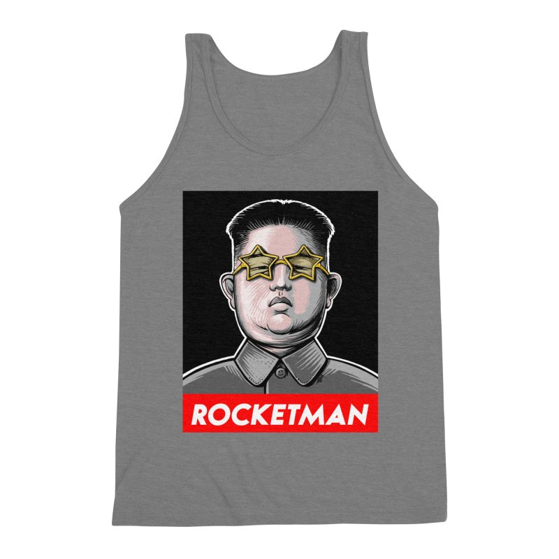 Rocket Man Kim Jong Un Men's Triblend Tank by 6amcrisis's Artist Shop
