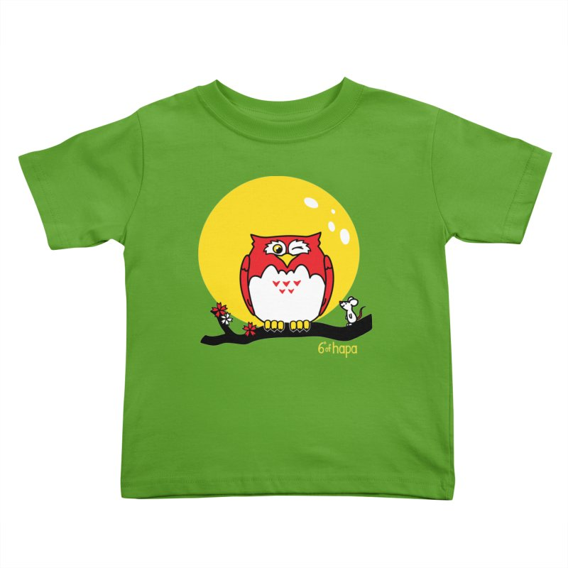 Fukurou with Mouse and Moon Kids Toddler T-Shirt by 6degreesofhapa's Artist Shop
